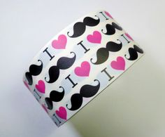 I Heart Mustaches Duct Tape - One Roll of Printed Tape from Duct Tape Projects, Duck Tape Crafts, Duct Tape Colors, Bubble Envelopes, Washi Tape, Or Rose, Diy And Crafts, Crafty, Prints