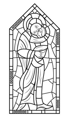 """iColor """"Stained Glass Windows"""" Mother Mary with Jesus"""