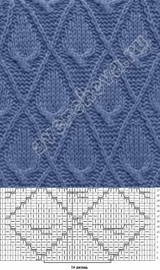 flower pattern from braids in a rhombus Lace Knitting Patterns, Knitting Stiches, Cable Knitting, Baby Hats Knitting, Knitting Charts, Knitting Designs, Hand Knitting, Stitch Patterns, Knit Dishcloth