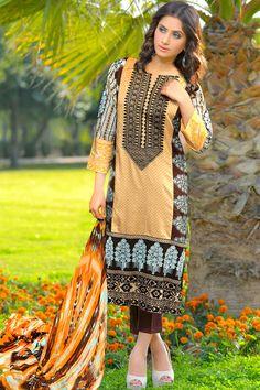 Product code: SUT-0617-LD 3-Pcs Suit SHIRT EMBROIDERED, PRINTED CHIFFON DUPATTA  , TROUSER PLAIN COTTON  Shop Online www.nimsay.pk