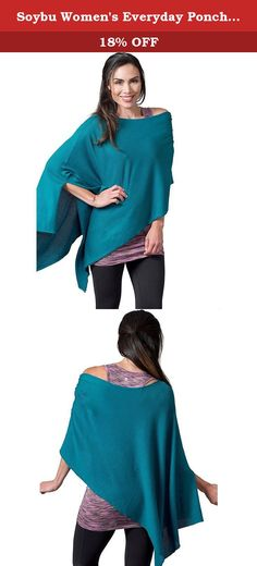 Soybu Women's Everyday Poncho, Erinite, One Size. This Poncho fits its name-ann everyday piece for layering either to the gym or to the office, our cozy Poncho made of our softest featherweight yarn comes in one size fits most and can be worn a variety of ways.