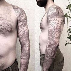 Topographic map tattoo by Johno