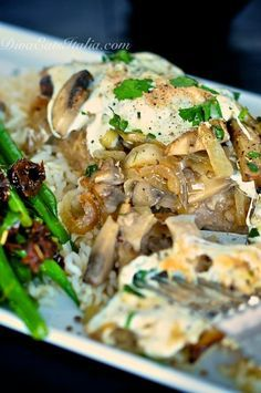 Veal with Sauteed Mushrooms & Onions in White Wine Sauce, Topped with Mozzarella, via Diva Eats Italia.