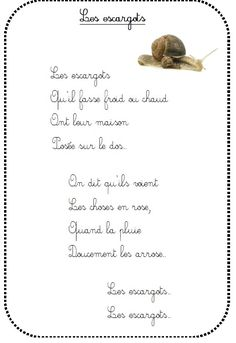 poesie-les-escargots chez Vivi Language Immersion, French Songs, French Classroom, French Immersion, Teaching French, Kids Songs, French Language, Music Education, Kids Learning