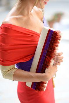 Cordón de Seda top & skirt,  La Corona del Príncipe clutch