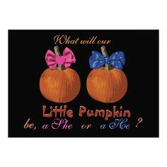 Halloween Baby Gender Reveal Invitations