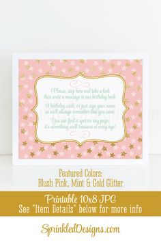 Birthday Guest Book Sign - Blush Pink Mint Gold Glitter 10x8 Printable Birthday Party Welcome Sign, Girl Birthday Party Decorations, Big One - SprinkledDesigns.com
