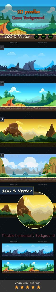 2d Parallax Game Backgrounds — Vector EPS #app backgrounds #app • Available here → https://graphicriver.net/item/2d-parallax-game-backgrounds/16656182?ref=pxcr