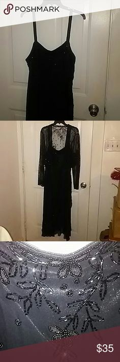 Vintage beaded jacket and dress size 1X Beautiful vintage jacket and dress size 1X by Scala.Jacket is lace with floral beading.Dress is fully lined and full of beading.Bottom is asymmetrical .Dress has beaded straps.Dress has back zipper.Pictures do not do it justice. Scala Dresses Asymmetrical