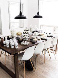 Kids birthday party dessert + snack table, black + white / monochrome, first birthday | Happy Grey Lucky
