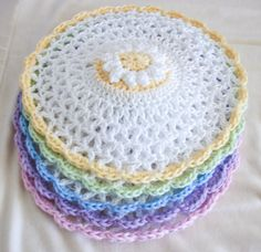 Pastel Crochet Lace Washcloths Set of 5 Round by ArtistBeeBee, $25.00