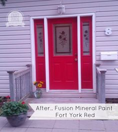 Fusion Mineral Painted door in Fort York Red - Front Porch Mercantile Painted Exterior Doors, Painted Front Doors, Exterior Paint, Red Front Doors, Painting Metal Doors, Painting Tile Floors, Welcome Signs Front Door, Front Door Colors, Mineral Paint