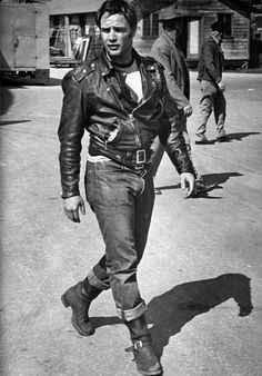 "Marlon Brando. On the set of "" The Wild One "", 1953"