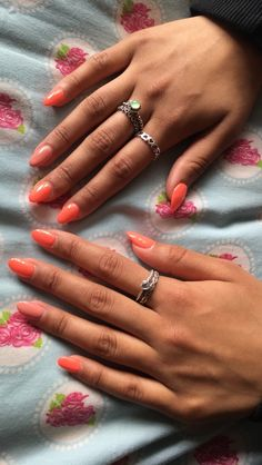 Almond shape, acrylic nails, round, peach, nude, pink, short nails, bright