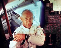 "Edwin ""Buzz"" Aldrin, the first man to wear the Omega Speedmaster on the moon, aboard the lunar module, shortly before it landed on the moon."