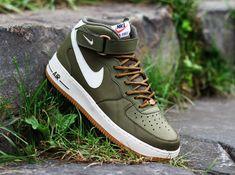 Nike Air Force 1 Mid – Medium Olive – Sail – Light Brown