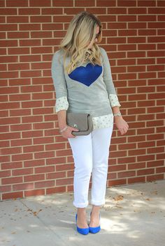 Transitioning to spring. white pants. blue shoes