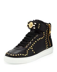 Leather+High-Top+Sneaker+with+Gold+Medallion,+Black+by+Versace+at+Neiman+Marcus.