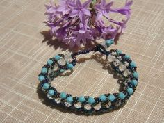 Woven Bracelet with White Rondelle Beads,Turquoise and Seed Beads