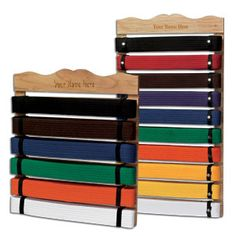 Tae Kwon Do belt display, Caleb is getting one for Christmas...I might need one too for me!