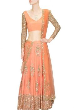 31ded7360a3ab2 Lehenga - Coral and gold floral sequins embroidered lehenga set -