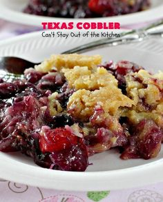 Texas Cobbler is a dump cake-type dessert using blueberry and cherry pie fillings, crushed pineapple, almonds and coconut. Great for holiday entertaining.