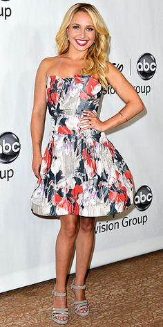 Hayden Panettiere attended the ABC Summer Bash in Los Angeles wearing this sweet, floral printed Z Spoke by Zac Posen strapless dress.    Our Editors are loving her loose, wavy curls and perfect red pout.    The young star added Jimmy Choo sandals and Lana Jewelry bangles to complete her lovely summer look.