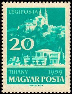 Sello: Tihany (Hungría) (Lake Balaton (1959)) Mi:HU 1614A,Sn:HU C202,Yt:HU PA224 Postage Stamps, Poster, Books, Stamps, Castles, Libros, Book, Book Illustrations, Posters