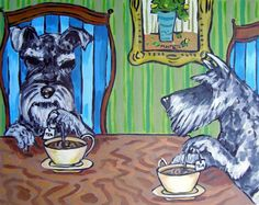 SCHNAUZER  - tea room art-  4x6  pet art -   - modern folk art GLOSSY PRINT #modern