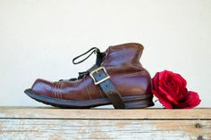 Vintage boots red brown burgundy oxblood by RoseleinRarities,