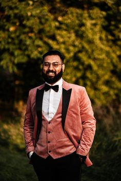 Pink Velvet Wedding Jacket and Waistcoat for Groom | By Ania Ames Photography | Garden Wedding | Bride with Tattoos | Tattooed Bride | Bridal Hairpiece | Off The Shoulder Wedding Dress | Pink Suit for Groom | Garden Party Wedding Morning Suits, Bridal Hairpiece, Brides With Tattoos, Wedding Jacket, Groomsmen Suits, Pink Suit, Pink Wedding Dresses, Garden Party Wedding, Looking Dapper