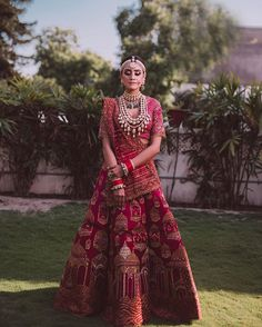 Red lehenga with patterns on lehenga skirt and dupatta with sequins on the blouse Pakistani Bridal Lehenga, Designer Bridal Lehenga, Red Lehenga, Party Wear Lehenga, Indian Lehenga, Anarkali, Lehenga Skirt, Sabyasachi, Lehenga Choli