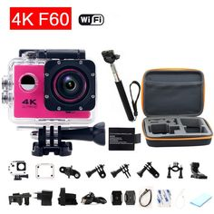 98.45$  Watch now - http://alipga.worldwells.pw/go.php?t=32619648936 - gopro hero 4 style F60 Sport Camera Wifi 4K Action Camera Diving Helmet go pro Waterproof Extreme Mini Cam With Monopod+Bag 98.45$