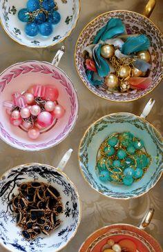 Teacups as jewelry holders