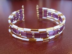 Legendary Beads » Tila Beads on memory wire to make small cuff.