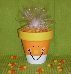 Candy Corn Clay Pot & several other cool ideas from - A Big Cup of Tea: Fall and Halloween Ideas- take 2 Thanksgiving Crafts, Fall Crafts, Holiday Crafts, Holiday Fun, Crafts For Kids, Halloween Clay, Holidays Halloween, Halloween Crafts, Halloween Decorations