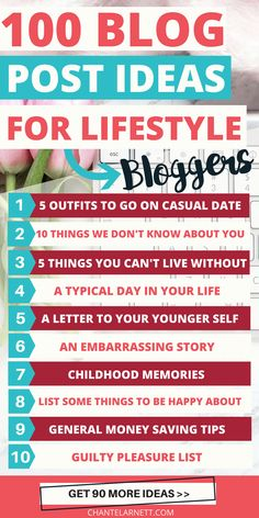 Starting a lifestyle blog? Looking for lifestyle blog ideas? Use this list of 100 lifestyle blog topics to inspire and entertain your readers. If you post once a week, you'll have enough ideas for almost two years worth of lifestyle blog posts! #lifestyleblogger #bloggingtips #writinginspiration via @chantel_arnett via @chantel_arnett