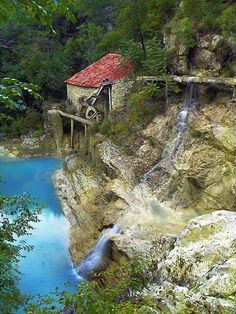 Waterfall at Old Mill, Istra, Croatia #waterfall
