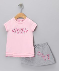 Take a look at this Pink & Gray Butterfly Tee & Skirt  by Sweet & Soft on #zulily today!