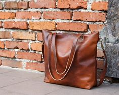 Large Brown Leather Handbag Tote Leather Shoulder Bag | Etsy Large Crossbody Purse, Large Leather Tote Bag, Brown Leather Handbags, Brown Leather Totes, Leather Purses, Leather Bag, Large Tote, Shopper Bag, Leather Shoulder Bag