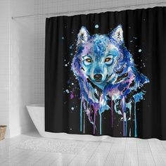 Easy install with built-in slits for hanging with your choice of shower hooks (hooks not included) Silver Shower Curtain, Elegant Shower Curtains, Colorful Shower Curtain, Fabric Shower Curtains, Watercolor Shower Curtain, Galaxy Wolf, Watercolor Wolf, Bathroom Stall, Personalised Blankets