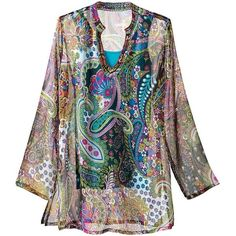 Spring Paisley Tunic ($79) ❤ liked on Polyvore featuring tops, tunics, paisley print, petite tops, plus size tunics, split neck tunic, womens plus tops and plus size petite tops