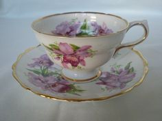 Orchid Grosvenor Ye Olde English Bone China Footed Cup and Saucer $24.99  Passionate Collectibles & Dishes