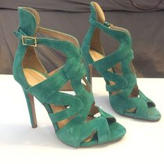 608b1b8bd9e Zara Bright Green Suede Sandals Used and loved heels. Flaws shown in pics.  Zara