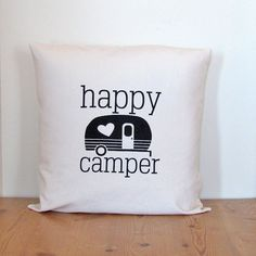 Pillow Cover  Happy Camper  18x18  Black on by sunnymorningdesigns