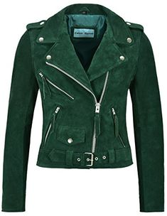 e56de55f18b9 Amazing offer on Smart Range Ladies Brando Leather Jacket Green Suede  Fitted Biker Motorcycle Style MBF online