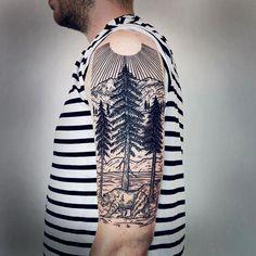 nice half sleeve tattoos #Halfsleevetattoos Sky Tattoos, Feather Tattoos, Nature Tattoos, Trendy Tattoos, Tatoos, Swirl Tattoo, Half Moon Tattoo, Tattoo Art, Nature Tattoo Sleeve
