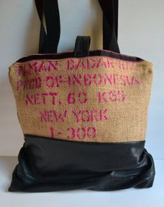Coffee Bean Tote Bag with Leather  Large Burlap by Liquidshiva, $48.00