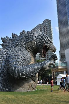 Godzilla statue in Roppongi Midtown, Tokyo, Japan. the real japan, real japan, japan, japanese, cartoon, character, anime, animation, mascot, chara, sanrio, yuruchara, kumamon, hikonyan, tour, travel, explore, trip, adventure, gifts, merchandise, toys, dolls http://www.therealjapan.com/subscribe/