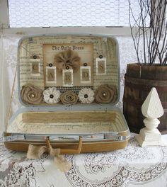 Burlap Decor Vintage Suitcase For Wedding Card Holder by TheShabbyChicWedding, $100.00
